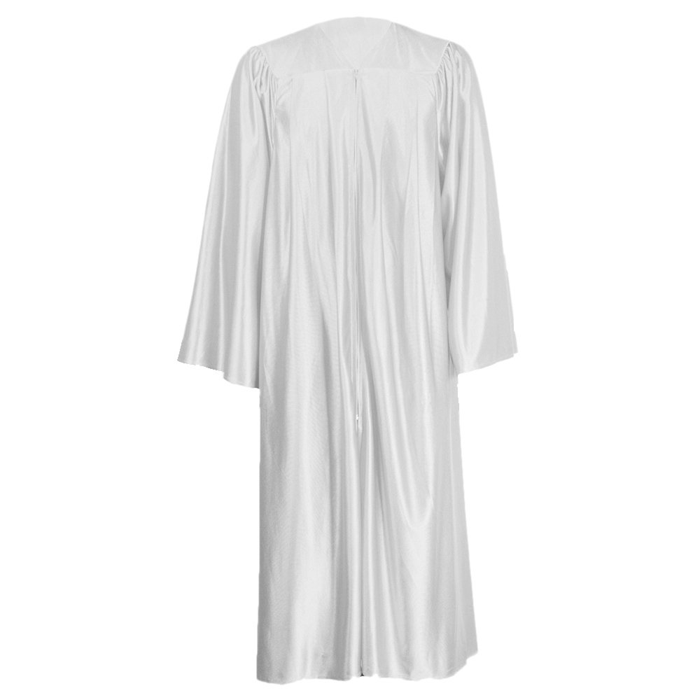 GraduationMall Unisex Economy Shiny Graduation Gown Only White Medium 48(5'3''-5'5'')
