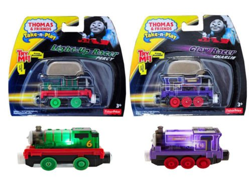Thomas The Train, Take and Play Percy & Charlie Light Up Racers Bundle-2 items Percy and Charlie Glow Racers (Train Station Tent)