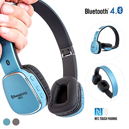 Bluetooth On-Ear Headphones, Alpatronix® [HX110: EXTRA BASS] On Ear Wireless Earphones Bluetooth 4.0 Headset with NFC Touch Pairing, Microphone, Universal Volume & Playback Control, Noise Isolation & Reduction, Rechargeable Battery for iPhone 6s Plus 6s