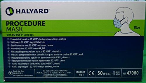 Halyard Procedure Mask/Pleat/Earloops, Blue,(47080) 50 Count