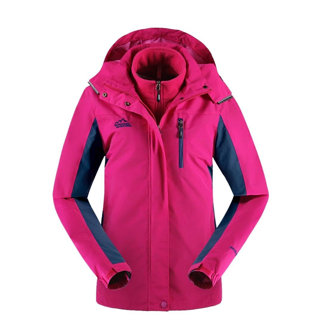 pinkcarmine AUSWIEI Winter Autumn Jacket Women's Threeinone TwoPiece Suit Breathable Plus Velvet Padded Jacket Jacket (color   bluee, Size   XXL)