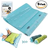 9 Travel Space Saver Bags by StoragePro, Hand Rolling (No Vacuum Needed) Compression Bags in Multiple Sizes & Gift Packaging