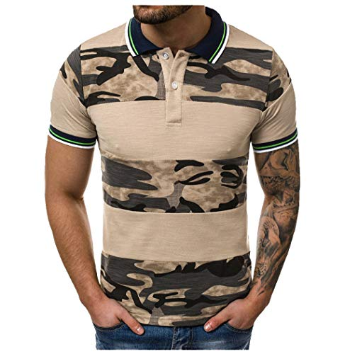 AHAYAKU Fashion Men's Casual Slim Fit Short Sleeve Sports O-Neck Shirt Top Blouse Khaki