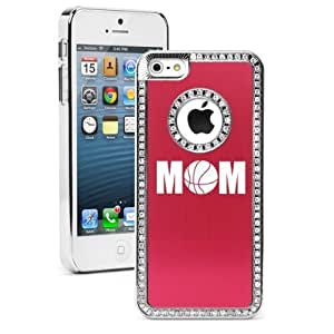 Apple iPhone 5 5s Red 5S2642 Rhinestone Crystal Bling Aluminum Plated Hard Case Cover Mom Basketball