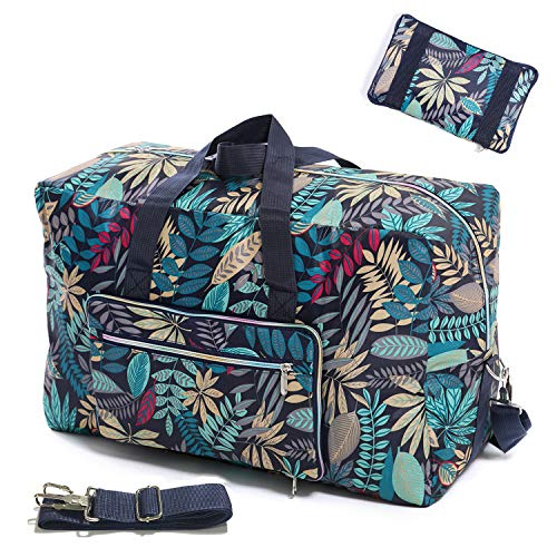 Womens Foldable Travel Duffel Bag 50L Large Cute Floral Travel Bag Weekender Overnight Carry On Bag Checked Luggage Tote Bag...