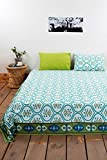 traditional mafia rses777757 Luxury Collection Printed Double Bed Sheet Set with 2 Pillow Covers, King, Blue