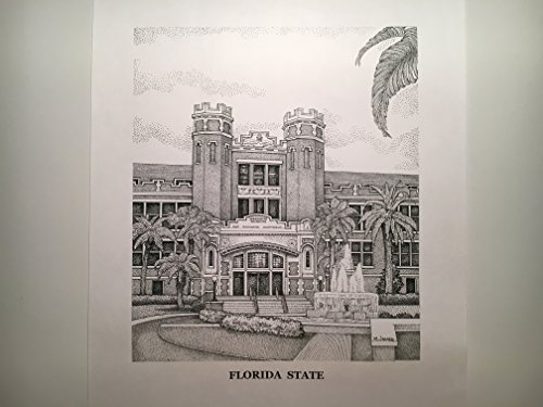 Florida State University Westcott Building - 11''x14'' pen and ink print by Campus Scenes
