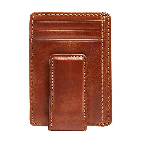 HOJ Co. CARRYALL Mens Leather Money Clip Wallet-Strong Magnetic Front Pocket Wallet-Exterior ID Window ()