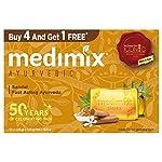 Medimix Ayurvedic Sandal Bathing Bar, 125 g (4 + 1 Offer Pack)
