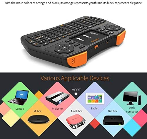 Black Computer Accessories i8 Plus Updated 2.4GHz Qwert Mini Wireless Keyboard with Touchpad for TV Box Laptop and Projector Tablet Mi Box Computer