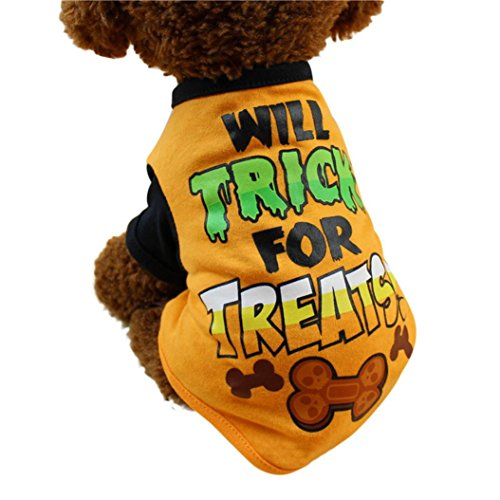Mikey Store Pet Dog T Shirts, Halloween Pet T Shirts Clothing Small Puppy Costume (Orange, (Athletic Halloween Costumes)