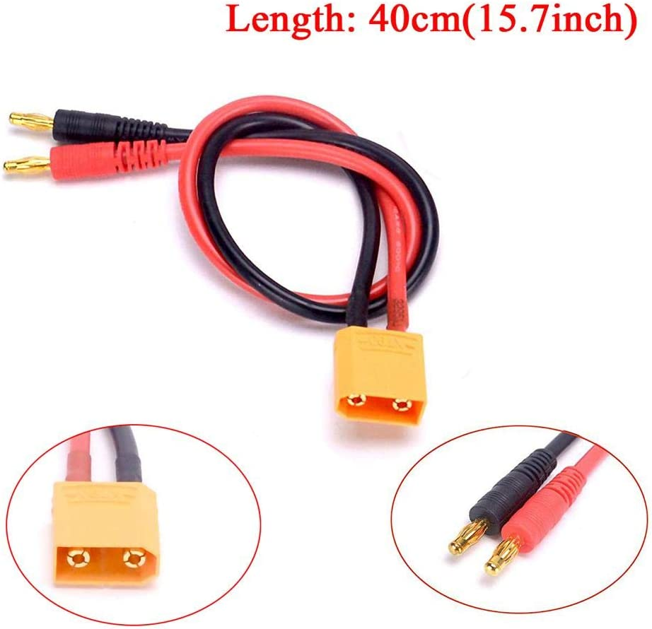 ningxiao586 12AWG 14AWG XT90 Connector Plug Adaptateur Banane pour Batterie Lipo Charge Lead Adaptor 40cm pour imax B6