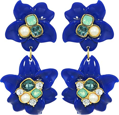 - Vince Camuto Women's Drama Double Drop Earrings Gold/Lapis/Ivory Pearl/Indian Sapphire/Pacific Opal/Crystal One Size