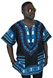 Dashiki Shirt African Caftan Unisex Large Size Black and Blue