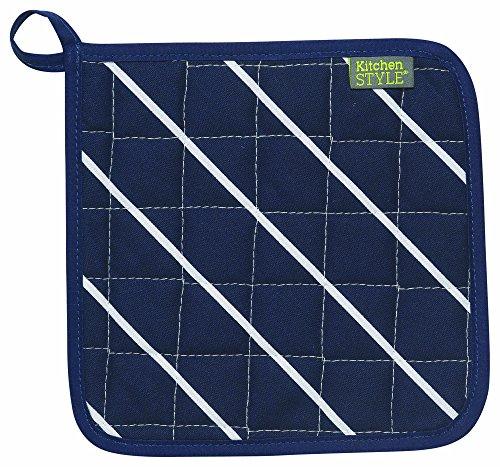 UPC 064180218990, Kitchen Style by Now Designs Potholders, Butcher Stripe Navy, Set of 2