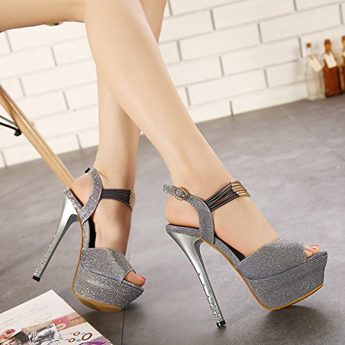 ZHIFENGLIU Platform Silver Fine High Ladies Sandals Heel Super Sandals Fish Head Summer Rhinestone 4xarf4