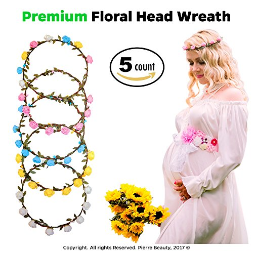Premium Flower Garland Headband (5-Piece Set) Cute Head Wreaths for Weddings, Bridal or Maternity Photo Shoots, Parties, Renaissance Fairs,Fun Costume Parties - Pregnant Teenager Costume