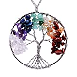 Viola Tricolor 7 Chakra Gemstone Silver Plated Copper Tree of Life Necklace Rainbow Natural Stone Amethyst Pendant Necklace Healing Wire Wrapped Necklace Gifts for Women