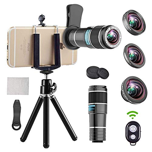 Phone Camera Lens - 4 in 1 Cell Phone Lens kit, 12x Telephoto Lens + 0.65x Wide Angle Lens + Macro Lens + Fisheye Lens,Clip-On Lenses for iPhone Android Smartphone with Tripod+Shutter Remote