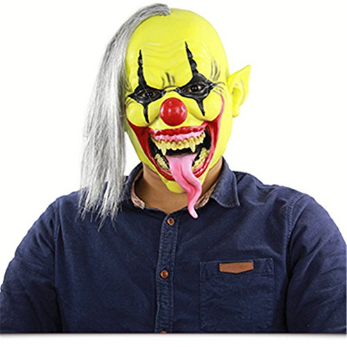 Halloween Horrific Demon Adult Scary Evil Clown Full Face Mask Cosplay Costume Props Latex Mask(Rare Hair) (A:21cm×30cm)