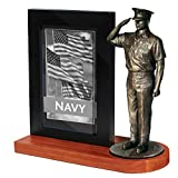 Khaki Army MD106W US Navy Chief Petty Officer in Service Khaki Saluting on Wood Base with 4x6 Photo Frame offers