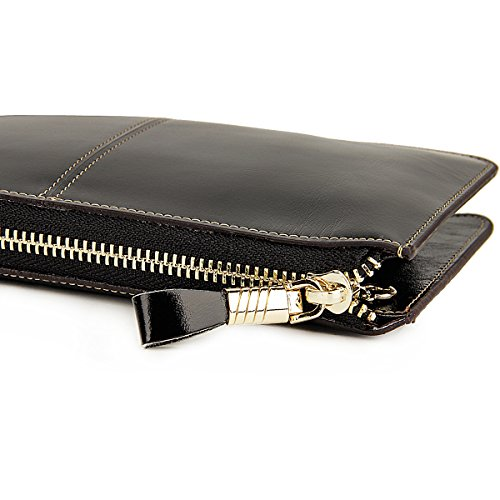Black Genuine Handbags Luxury For Cell Women Rfid Womens Zipper Phone Purse Wallets Leather Blocking Lecxci Wristlets Clutch dw6C7xEq60