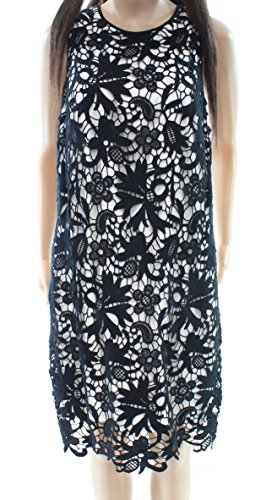 Tadashi Shoji White Women's Floral Lace Sheath Dress Black 12