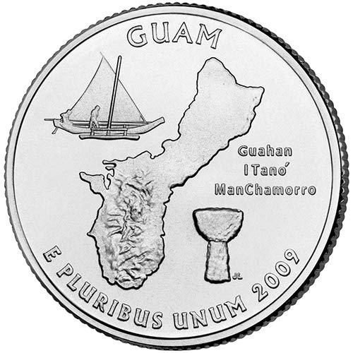 - 2009 P & D Satin Finish Guam Territory Quarter Choice Uncirculated US Mint 2 Coin Set