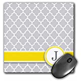 3dRose LLC 8 x 8 x 0.25 Inches Mouse Pad, Your Personal Name Initial Letter J, Monogrammed Grey Quatrefoil Pattern, Personalized Yellow Gray (mp_154576_1)