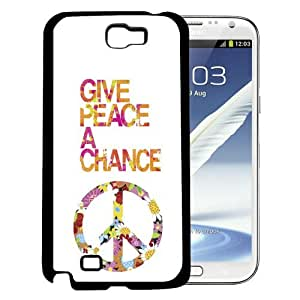 Floral Give Peace a Chance Design (Samsung Galaxy Note II 2 N7100) Hard Snap on Phone Case Cover