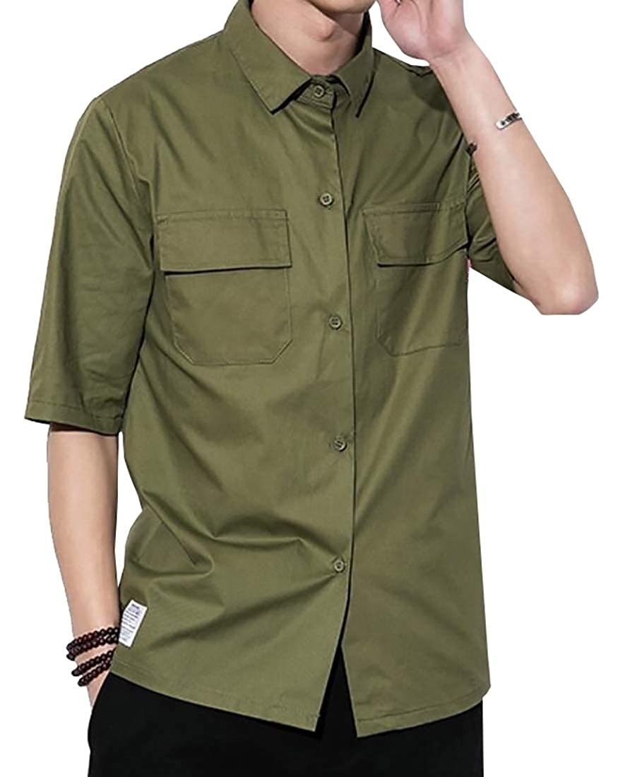 CYJ-shiba Mens Leisure Solid Color Multi-Pockets Military Button Front Shirts