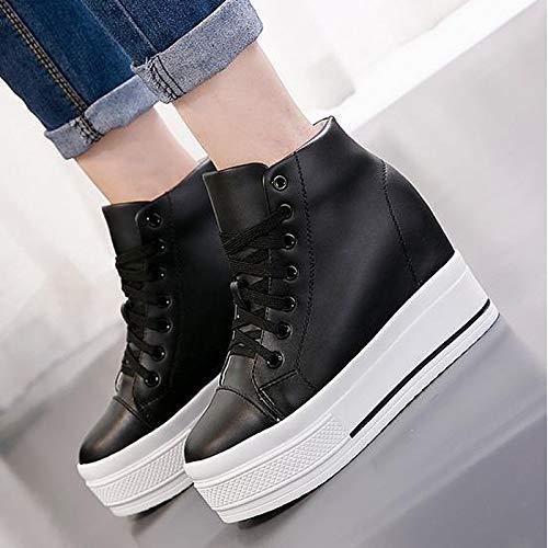 ZHZNVX Creepers Sneakers da Toe Scarpe Round pelle Bianco White Spring donna Nero di Comfort mucca In rvrqRw