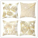 Throw Pillow Covers Alphabet Decorative Pillow Cases ABC Letter Flowers Cushion Covers 18 x 18 Inch Square Pillow Protectors for Sofa Couch Bedroom Car Chair Home Decor