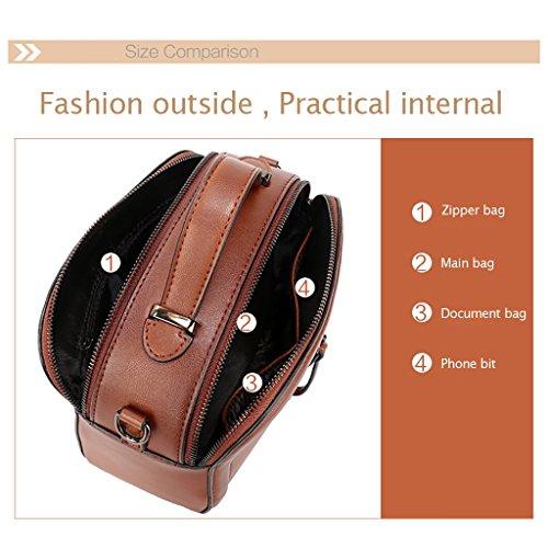 Mena UK Señora bolso de cuero del diseñador del bolso de la señora bolso de totalizador de cuero suave Bolsos grandes del hombro Marrón