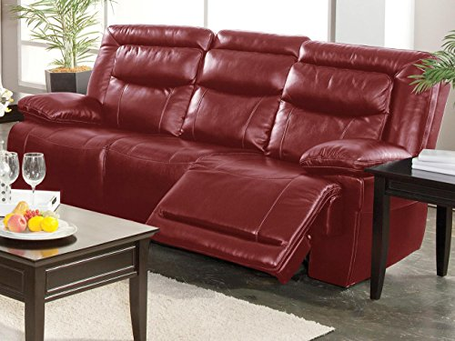 Topeka Dual Power Motion Recliner Sofa in Red