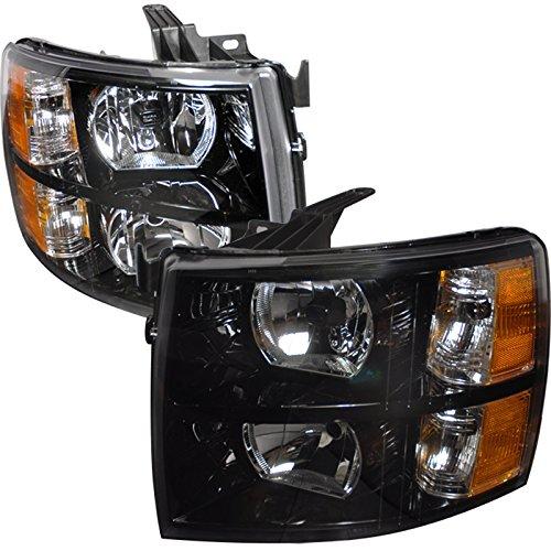 Spec-D Tuning 2LH-SIV07JM-DP Chevy Chevrolet Silverado Lt Ls Black Headlights W/ Reflector