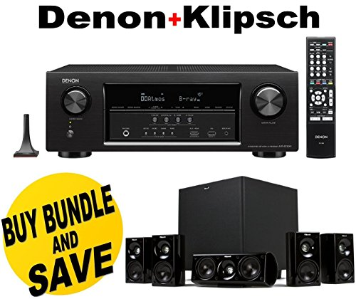 Denon AVR-S720W 7.2 Channel Full 4K Ultra HD AV Receiver with Built-In Wi-Fi and Bluetooth + Klipsch HDT-600 Home Theater System Bundle