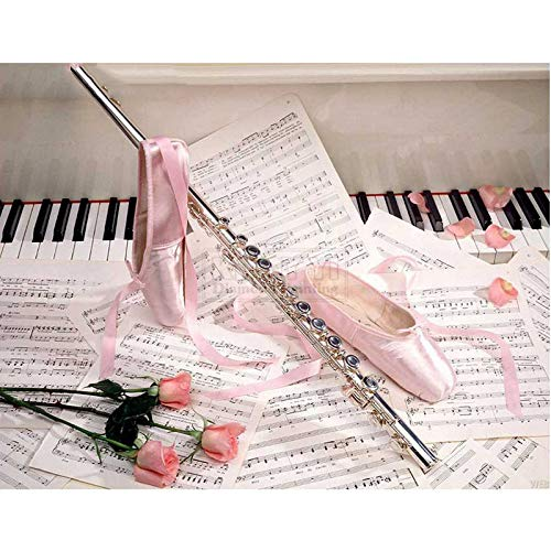 GMYANZSH 3D DIY Diamond Painting Ballet Shoes Pink Rose Sheet Music Beautiful Embroidery Diamont Painting Diamond Embroidery Kit