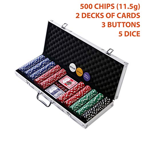 Professional 500 Chips (11.5g) Poker Set with Case by Rally & Roar - Complete Poker Playing Game Sets with 500 Casino Style Chips, Cards, Dice, Aluminum Case & Keys: Texas Hold'Em, Blackjack, and more (Aluminum Chip 300 Case)