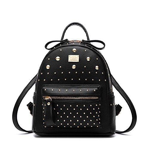 PU leather Backpack for Women Rivet Satchel School Book Bag
