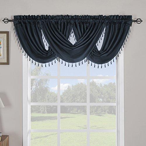 Sheetsnthings 100% Polyester Navy Soho Waterfall Decorative Trim Window Valance 57
