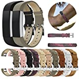 PrettyW 5.5'' - 8.1'' Classic Soft Leather Replacement Bands with Metal Connectors for Fitbit Alta/Fitbit Alta HR,Large Small Adjustable (Pack of 10)