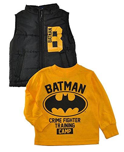 Batman vs Superman. Little Boys Long Sleeve Top & Vest Set, Batman Black/Yellow 2T]()