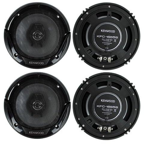 4) New Kenwood KFC-1665S 6.5 Inch 600 Watt 2-Way Car Audio Door Coaxial Speakers (Car Speakers)