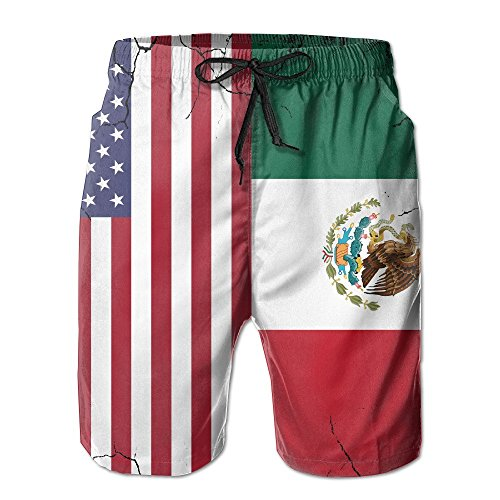 confirm vt Men's USA Mexico Flag Crack Quick Dry Summer Beach Surfing Board Shorts Swim Trunks Cargo Shorts by confirm vt