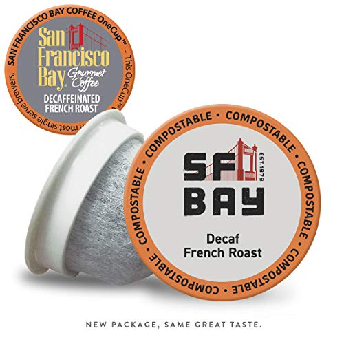 SF Bay Coffee DECAF French Roast 120 Ct Natural Water Processed Dark Roast Compostable Coffee Pods, K Cup Compatible including Keurig 2.0 (Packaging May Vary)