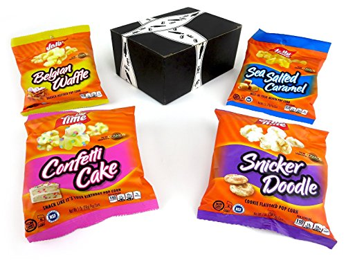JOLLY TIME Pop Corn 4-Flavor Variety: One 1 oz Bag Each of Confetti Cake, Snicker Doodle, Belgian Waffle, and Sea Salted Caramel in a BlackTie Box (4 Items Total)