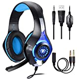 BlueFire Professional 3.5mm PS4 Gaming Headset Headphone with Mic and LED Lights for Playstation 4 - Xbox one - Laptop - Computer (Blue)