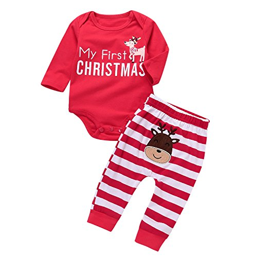 2 Pcs Christmas Clothes Set Baby Boys Girls Reindeer Cotton Romper+ Striped Pants Outfits Homewear (red, 3-6 Months)]()