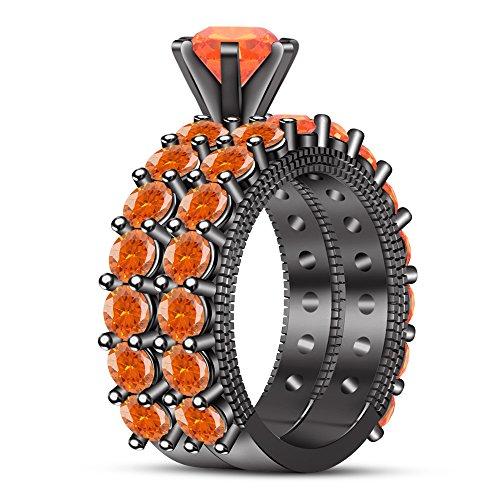 TVS-JEWELS Bridal Set Women's Ring For Wedding Engagement 925 Silver Round Cut Orange Sapphire Gemstone (7.5) -